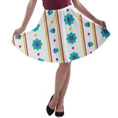 Beans Flower Floral Blue A Line Skater Skirt by Alisyart