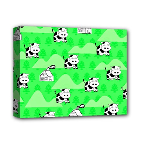 Animals Cow Home Sweet Tree Green Deluxe Canvas 14  X 11  by Alisyart