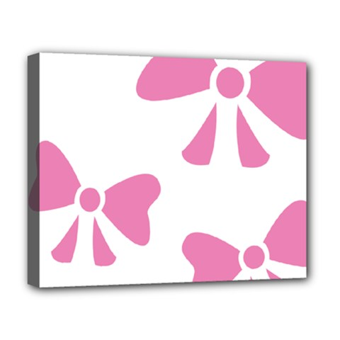 Bow Ties Pink Deluxe Canvas 20  X 16   by Alisyart