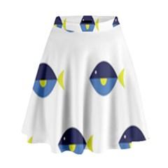 Blue Fish Swim Yellow Sea Beach High Waist Skirt by Alisyart
