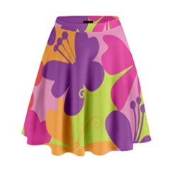 Butterfly Animals Rainbow Color Purple Pink Green Yellow High Waist Skirt by Alisyart