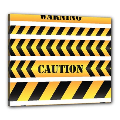 Caution Road Sign Warning Cross Danger Yellow Chevron Line Black Canvas 24  X 20  by Alisyart