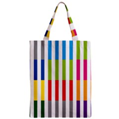 Color Bars Rainbow Green Blue Grey Red Pink Orange Yellow White Line Vertical Zipper Classic Tote Bag by Alisyart