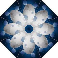 Cloud Moon Star Blue Sky Night Light Folding Umbrellas by Alisyart