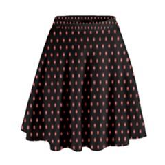 Colored Circle Red Black High Waist Skirt by Alisyart