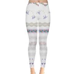 Bird Fly Butterfly Flower Floral Rose Blue Red Pink Leggings  by Alisyart