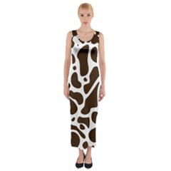Dalmantion Skin Cow Brown White Fitted Maxi Dress by Alisyart