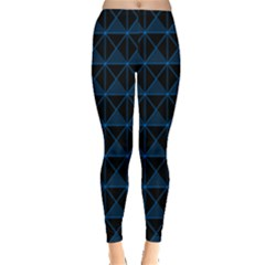 Colored Line Light Triangle Plaid Blue Black Leggings  by Alisyart