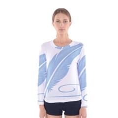 Feather Pen Blue Light Women s Long Sleeve Tee by Alisyart
