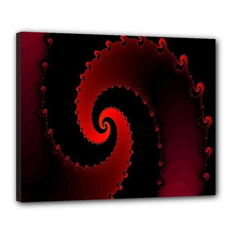 Red Fractal Spiral Canvas 20  X 16  by Simbadda