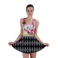 Chevron Wave Line Grey Black Triangle Mini Skirt by Alisyart