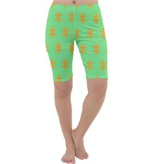 Flower Floral Different Colours Green Orange Cropped Leggings  by Alisyart