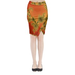 Decorative Fractal Spiral Midi Wrap Pencil Skirt by Simbadda