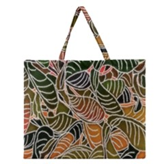 Floral Pattern Background Zipper Large Tote Bag by Simbadda