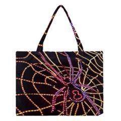 Black Widow Spider, Yellow Web Medium Tote Bag by Simbadda