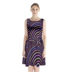 Abstract Colorful Spheres Sleeveless Chiffon Waist Tie Dress by Simbadda