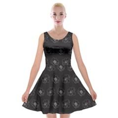 Floral Pattern Velvet Skater Dress by Valentinaart