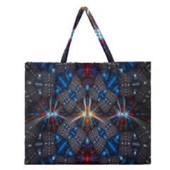 Fancy Fractal Pattern Zipper Large Tote Bag by Simbadda