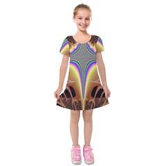 Symmetric Fractal Kids  Short Sleeve Velvet Dress