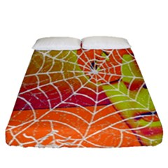 Orange Guy Spider Web Fitted Sheet (queen Size) by Simbadda