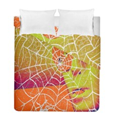 Orange Guy Spider Web Duvet Cover Double Side (full/ Double Size) by Simbadda