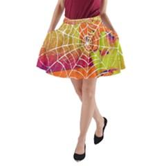 Orange Guy Spider Web A Line Pocket Skirt