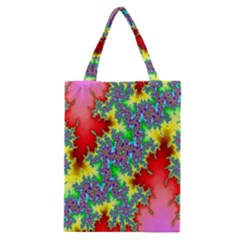 Colored Fractal Background Classic Tote Bag by Simbadda