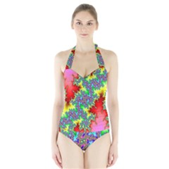 Colored Fractal Background Halter Swimsuit by Simbadda