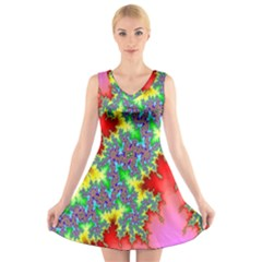 Colored Fractal Background V Neck Sleeveless Skater Dress