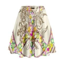 Peace Logo Floral Pattern High Waist Skirt by Simbadda