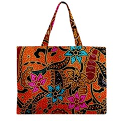 Colorful The Beautiful Of Art Indonesian Batik Pattern Zipper Mini Tote Bag by Simbadda
