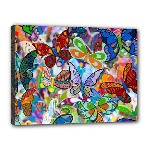 Color Butterfly Texture Canvas 16  X 12  by Simbadda