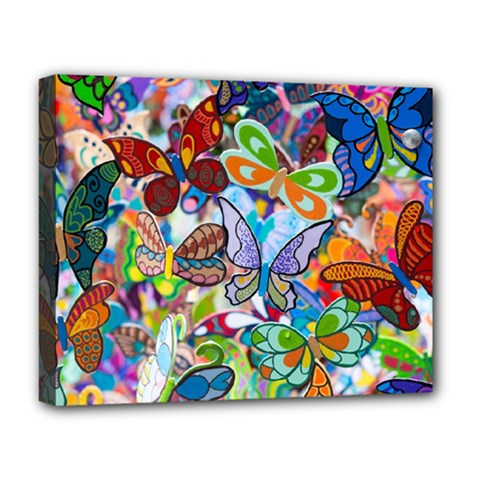 Color Butterfly Texture Deluxe Canvas 20  X 16   by Simbadda
