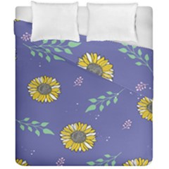 Floral Flower Rose Sunflower Star Leaf Pink Green Blue Yelllow Duvet Cover Double Side (california King Size) by Alisyart