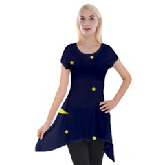 Moon Dark Night Blue Sky Full Stars Light Yellow Short Sleeve Side Drop Tunic