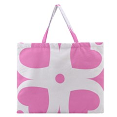 Love Heart Valentine Pink White Sweet Zipper Large Tote Bag by Alisyart