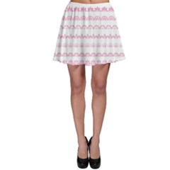 Pink Lace Borders Pink Floral Flower Love Heart Skater Skirt by Alisyart