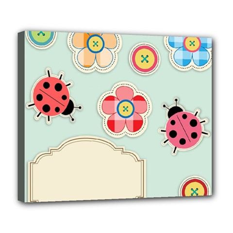 Buttons & Ladybugs Cute Deluxe Canvas 24  X 20   by Simbadda
