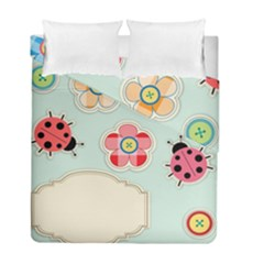 Buttons & Ladybugs Cute Duvet Cover Double Side (full/ Double Size) by Simbadda