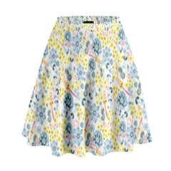 Flower Floral Bird Peacok Sunflower Star Leaf Rose High Waist Skirt by Alisyart