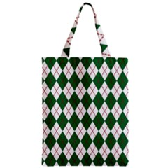 Plaid Triangle Line Wave Chevron Green Red White Beauty Argyle Zipper Classic Tote Bag by Alisyart