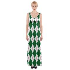 Plaid Triangle Line Wave Chevron Green Red White Beauty Argyle Maxi Thigh Split Dress by Alisyart