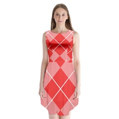 Plaid Triangle Line Wave Chevron Red White Beauty Argyle Sleeveless Chiffon Dress