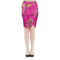 Pink Lemonade Flower Floral Rose Sunflower Leaf Star Pink Midi Wrap Pencil Skirt