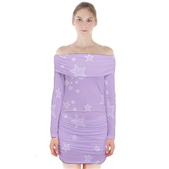 Star Lavender Purple Space Long Sleeve Off Shoulder Dress by Alisyart