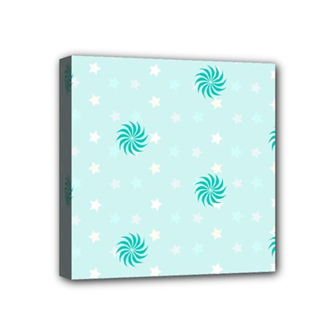 Star White Fan Blue Mini Canvas 4  X 4  by Alisyart