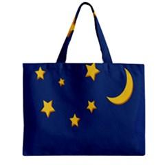 Starry Star Night Moon Blue Sky Light Yellow Zipper Mini Tote Bag by Alisyart