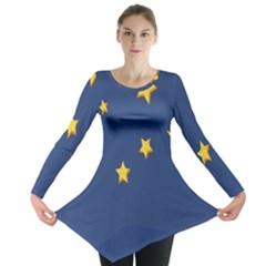 Starry Star Night Moon Blue Sky Light Yellow Long Sleeve Tunic  by Alisyart