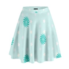 Star White Fan Blue High Waist Skirt by Alisyart