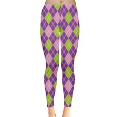 Plaid Triangle Line Wave Chevron Green Purple Grey Beauty Argyle Leggings  by Alisyart